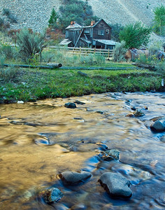 Afternoon reflection in Bayhorse creek at the ghost town of Bayhorse, near Challis, ID.