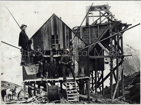 2004-01-023: Smuggler-Union Miners in Tram Bucket, Pennsylvania Tram c 1910