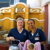 Precious Blood Sister Karen Elliott with nursing student Monika House at Santo Hermano Pedro.