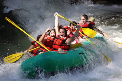 Landi and Stephanie rafting on the Nantahala