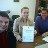 Members of Board of TULIP and Director Ludmilla Voronchenko  showing off TULIP's official business registration - Lyuda