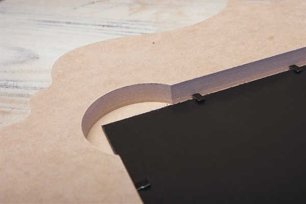 Back of frame which shows styrene mounting.