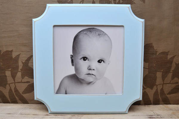 "10x10 ""hampton"" frame in blue..<br /> <br /> Frames are handmade with pressed wood and a cost of satin finish for protection.  Distressed wood, by nature, will have minor imperfections which lend to the vintage feel of the frame."