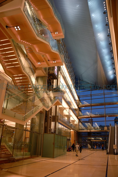 Evening view of the lobby area - the front side of building facing Nicollet Avenue.