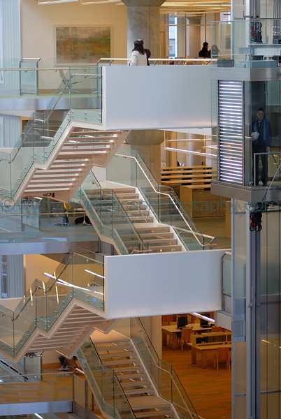 Staircase in the lobby area of the library.