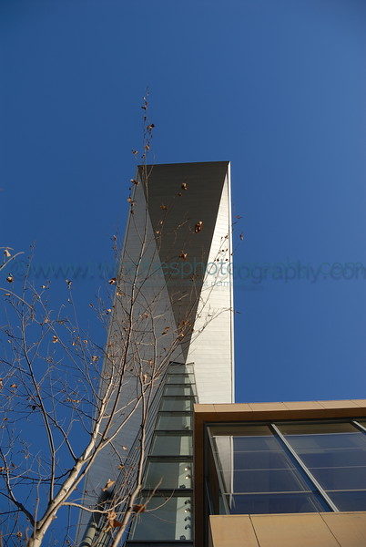 Late afternoon photo of the angular roof on the Hennepin Avenue side of the building. February 2007