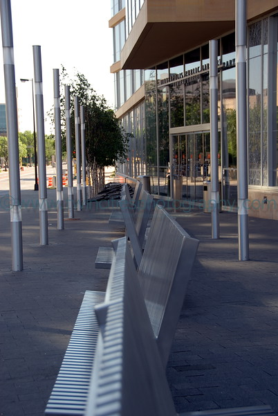 Minneapolis Central Library - Benches outside on the Hennepin Avenue side of the building.