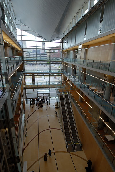 Main lobby area of the library viewed from the 4th floor.