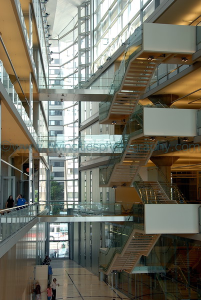 Staircase in the main lobby of the library