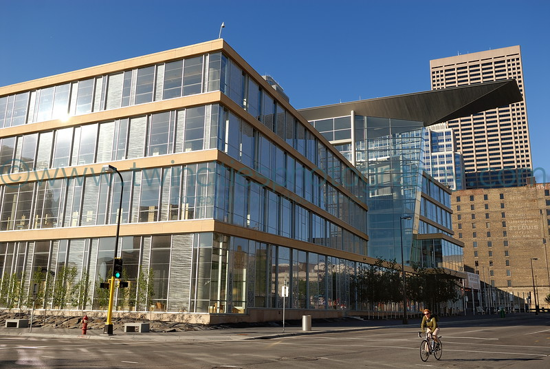 """<font size=""""2"""" face=""""Verdana"""" font color=""""#84C65D"""">View of the library from Hennepin Avenue, west side of building.</font>"""