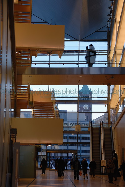 Walkways connecting the sides of the library.