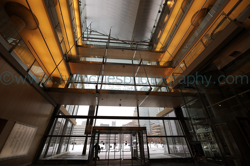"""<font size=""""2"""" face=""""Verdana"""" font color=""""#84C65D"""">View of the entrance along Nicollet mall from the interior of the building, east side of building (December 29, 2007).</font>"""