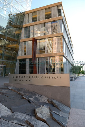 View of the front entrance of the library along Nicollet Mall.