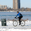 Winter biker along Lake Calhoun.