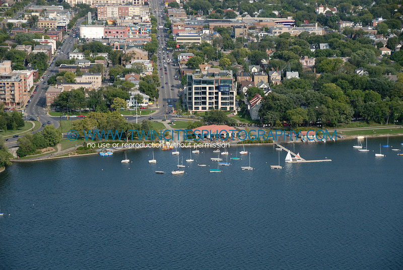 Aerial view of Lake Calhoun Concession and Boat rental area.  Lake Street is also visible in this photo.  Fall 2006