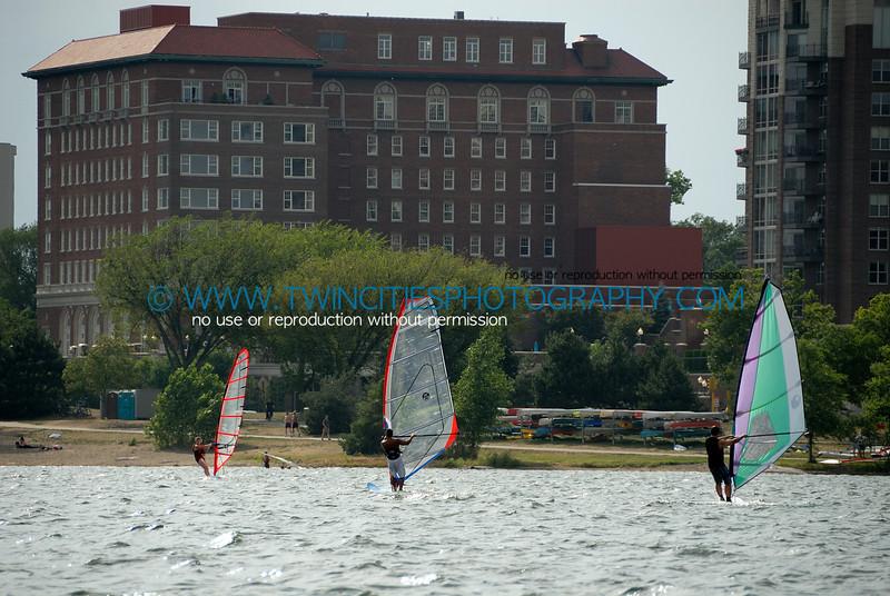 Wind Surfers on Lake Calhoun - Lake Calhoun Beach Club is in the background.