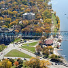 Aerial view of Lake Calhoun with Lake Street running along the bottom of photo.