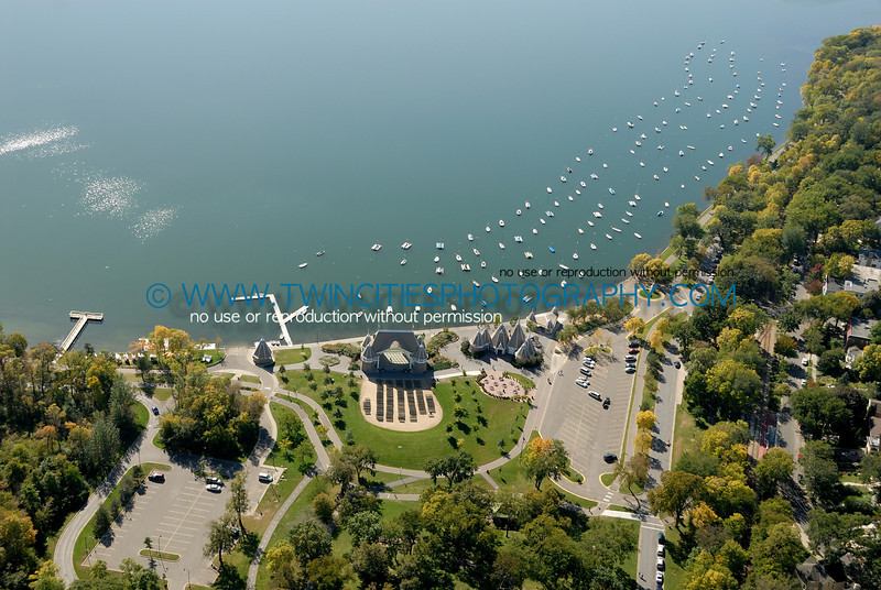 """<font size=""""3"""" face=""""Verdana"""" font color=""""#5CB3FF"""">Aerial view of Lake Harriet with Lake Harriet Bandshell.  Photo taken September  28, 2007.</font>"""