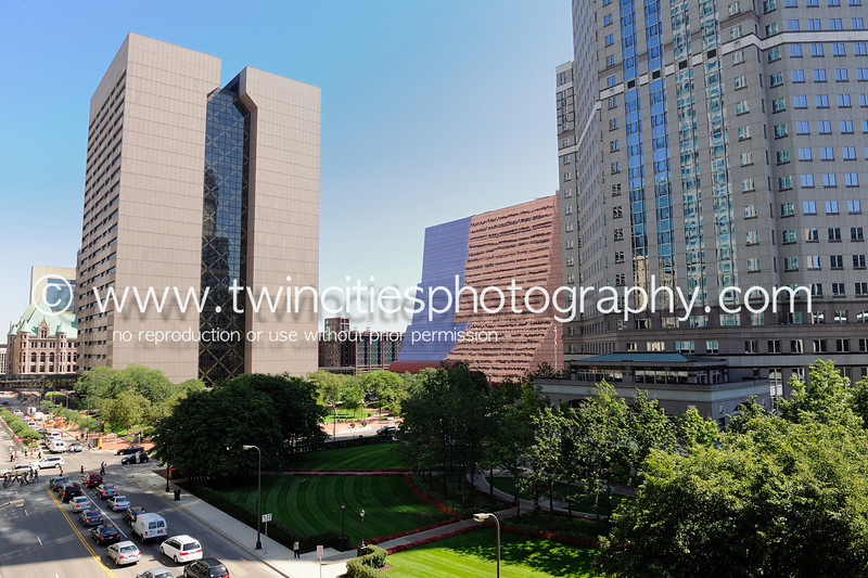 """<font size=""""3"""" face=""""Verdana"""" font color=""""turquoise"""">Hennepin County Government Center and the Thrivent Financial headquarters buildings - taken from the 6th level of the Minneapolis Club parking ramp - Photo taken August 2011</font>"""