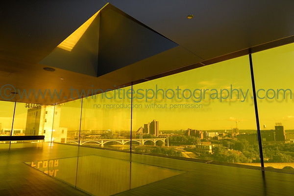 The Dowling Studio lobby area with a view of North Minneapolis through the amber colored glass - August 2007.