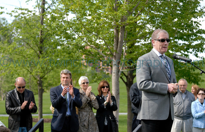 """<font size=""""2"""" face=""""Verdana"""" font color=""""#5CB3FF"""">Joe Dowling, Artistic Director at the Guthrie Theater, speaks at the opending ceromony of the park.</font>"""