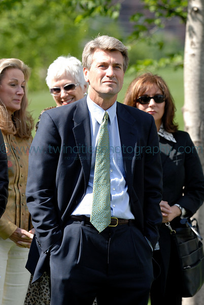Minneapolis Mayor R.T. Rybak watching the speakers at the opening ceromony of the park.