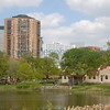 Loring Park Recreational Center and Loring Pond.  The 110 Grant Street Apartment building is also viewable.  Photo taken May 2006.
