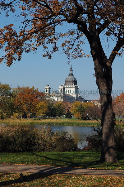 """<font size=""""3"""" face=""""Verdana"""" font color=""""white"""">Loring Park</font> <font size=""""3"""" face=""""Verdana"""" font color=""""#5CB3FF"""">View of Loring Pond with St. Mary's Basilica in the background - October 2005</font> <br> <font size = """"1"""" font color = """"gray"""">Click on photo to see larger size.</font>"""