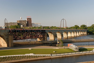 Mississippi Riverfront The historic Stone Arch Bridge near downtown Minneapolis.  Click on photo to see larger size.