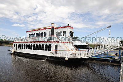 Mississippi Riverfront Minneapolis Queen Riverboat at Boom Island along the riverfront near downtown Minneapolis.  Photo date May 17, 2008.  Click on photo to see larger size.