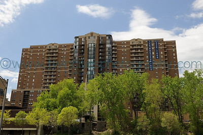 Mississippi Riverfront Riverwest Condominiums along the riverfront near downtown Minneapolis.  Photo taken May 17, 2008.  Click on photo to see larger size.