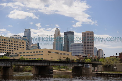 Mississippi Riverfront The Federal Reserve Bank of Minneapolis headquarters (lower-left) along the riverfront with the downtown Minneapolis skyline in the background.  Photo date May 17, 2008.  Click on photo to see larger size.