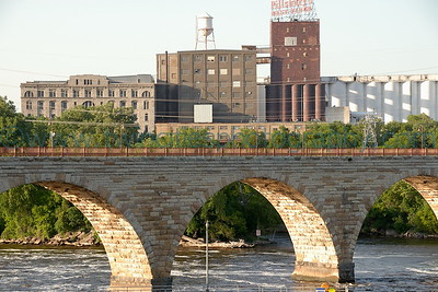 The historic Stone Arch Bridge crossing the Mississippi River.