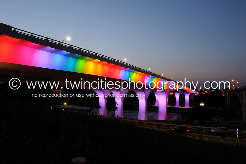 "<font size=""3"" face=""Verdana"" font color=""white"">2011 35W Bridge Lighting</font> <font size=""3"" face=""Verdana"" font color=""#5CB3FF"">The Interstate 35W Bridge in Minneapolis illuminated with rainbow colors the night of June 24th in celebration of this years pride festival.</font> <br> <font size = ""1"" font color = ""gray"">Click on photo to see larger size.</font>"