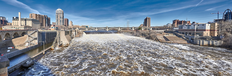 Mississippi River At Flood Stage in Minneapolis