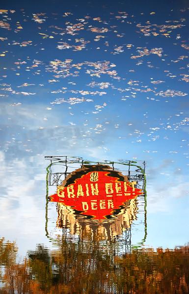 Grain Belt Beer Sign reflected in the Mississippi