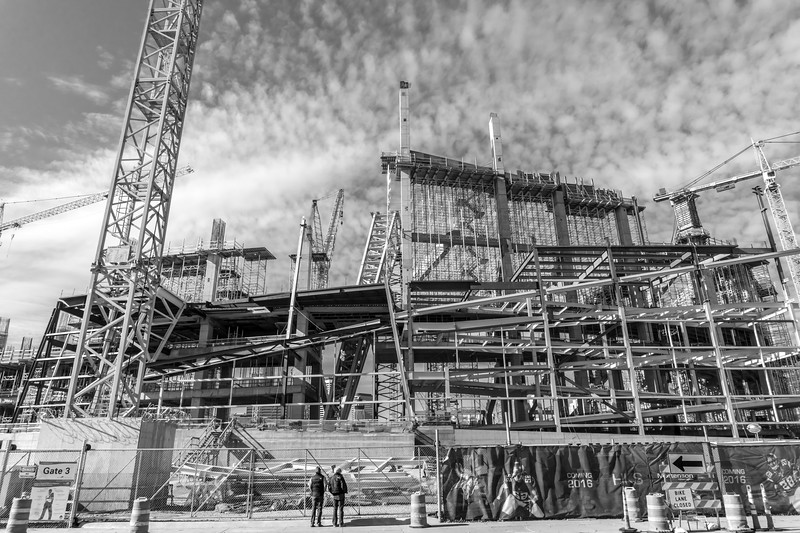 US Bank Stadium in Minneapolis, Minnesota, under construction in 2016.  U.S. Bank Stadium is the home of the Minnesota Vikings NFL Football team, and was the site of Superbowl LII.