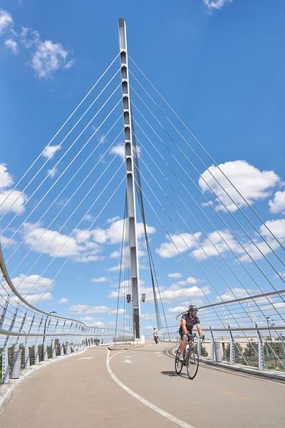 Cycling on the Sabo Bridge in Minneapolis
