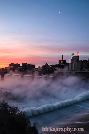 New year sunrise!  (shot on 1-1-19)  Frigid temps led to steam rising from St Anthony Falls!  Beautiful start to 2019!  Minneapolis, MN