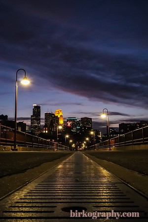 Late fall blue hour shot from the Stone Arch Bridge.  Minneapolis, MN