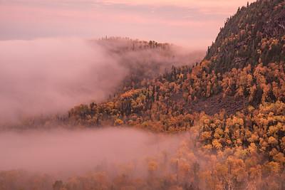 """AUTUMN 0734  """"Autumn Fog on Mt. Josephine""""  Grand Portage, MN"""