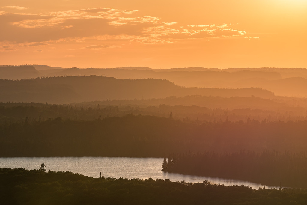 "FOREST 8873<br /> <br /> ""July Sunset over the Misty Mountains of Grand Portage, MN"""