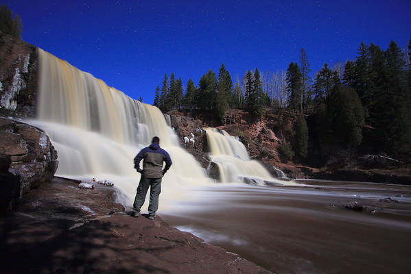 "GOOSEBERRY RIVER 2662  ""Moonlight on Middle Gooseberry Falls"""