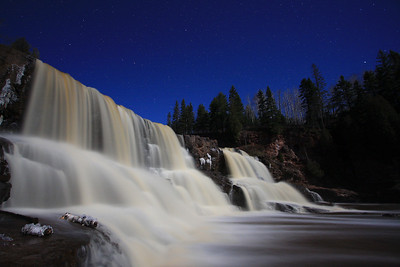 "GOOSEBERRY RIVER 2650  ""Moonlit night at Gooseberry Falls"""