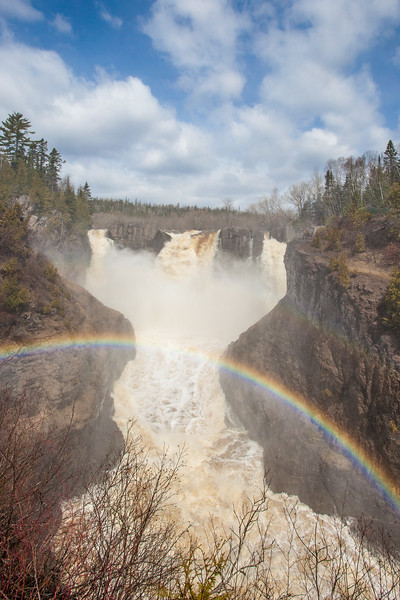"""PIGEON RIVER 5411<br /> <br /> """"Double Rainbow at High Falls""""<br /> <br /> Grand Portage State Park, MN"""