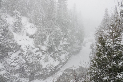 """Blizzard on the Pigeon River Gorge"""