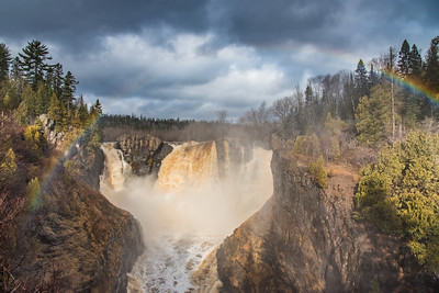 "PIGEON RIVER 4373  ""November Rainbow at High Falls""  November 19, 2015 - High Fall is a raging torrent of water after more than 3 inches of rainfall."