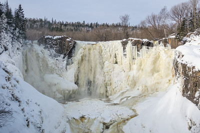 """PIGEON RIVER 04452  """"Winter Flow on High Falls""""  Grand Portage State Park, MN"""