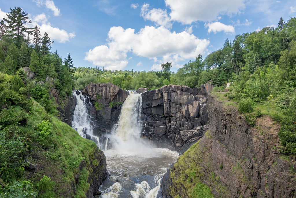 """PIGEON RIVER 04884<br /> <br /> """"August at High Falls""""<br /> <br /> Grand Portage State Park, MN - Minnesota's tallest waterfall never disappoints, no matter what time of year or what the water level is.  It's always an impressive sight!"""