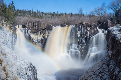 "PIGEON RIVER 4332  ""Spring Ice and Rainbow at High Falls""  Grand Portage State Park, MN"